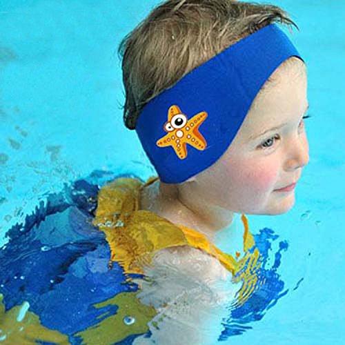SUIEK Swimming Headband - Free Swimming Earplugs a Pair (Blue, M: 6 M- 3 Years, Head Size 13.5 -17.5 )