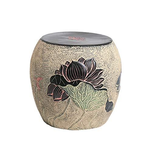 XinQing-Escabel Taburete de Resina Lotus de Estilo Chino, Taburete de Cambio de Zapato Redondo Banco de Zapatos Tallado Taburete de Mesa de café 12.6 * 12.6 * 11.4in