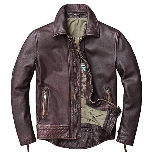 DXIUMZHP Chaquetas Cazadora Cuero Hombre, Traje De Piloto De Moto Retro, Chaqueta De Estilo Fresco, Otoño E Invierno, (Color : Brown, Size : Large)