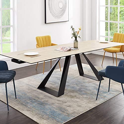 Botanix - Mesa de comedor extensible de cerámica y madera
