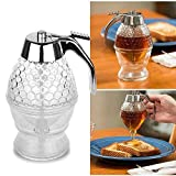 TRUENIX Acrylic Honey Maple Syrup Juice Dispenser 200ml with Stand Honey Container Jar Pot No Drip Honey Cup Storage Dispenser High Capacity Cans Kitchen Tools Bee Hive Trigger Comb Shaped Bottle