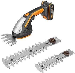 Syczdllj WG801E 20V Brushless Hedge Trimmer, 4-tums 4,7-tum 7,8-tums häcktrimmer, med 2,0 Ah batteri och laddare, for träd...