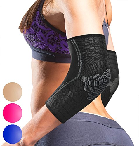 Sparthos Elbow Compression Sleeves (Pair) – Tendonitis Golfer's Tennis Elbow Brace Support for Men and Women – Arm Injury Recovery & Prevention Biceps Triceps Joint Pain Relief (Black-L)