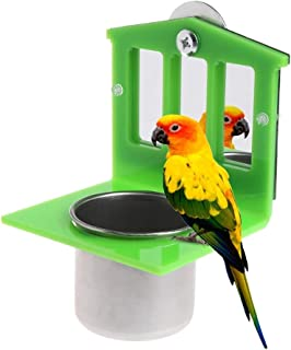 PIVBY Bird Mirror Toys with Stainless Steel Parrot Food & Water Bird Cup Dish Feeder Bowl Parakeet Cockatiel Conure Lovebirds Canaries Buggies Macaw African Greys