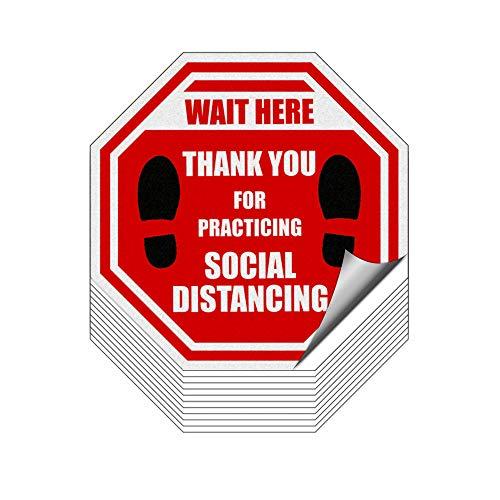 emooshi Social Distancing Floor Decals (12 Stück) 20,3 x 20,3 cm Anti-Rutsch Boden Grafik Laminierung Social Distance Bodenaufkleber 1,8 m Abstand Teppich Aufkleber