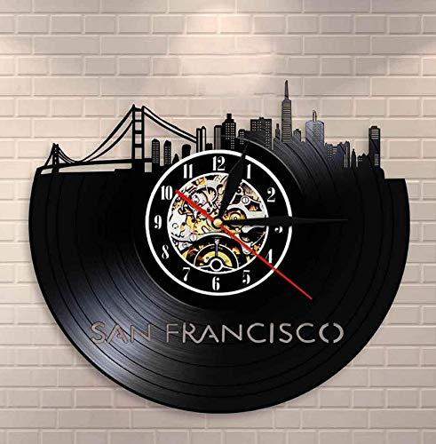 RTYRT Vinyl-Wanduhr San Francisco Skyline Wandkunst USA SF Stadtbild Wanduhr Uhr Golden Gate Bridge Vintage Vinyl Schallplattenuhr Travel Landmark 12 Zoll