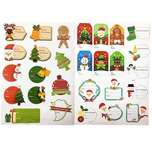 Bageek 2 vellen kerststickers DIY decoratieve geschenkhangers sticker vakantie sticker