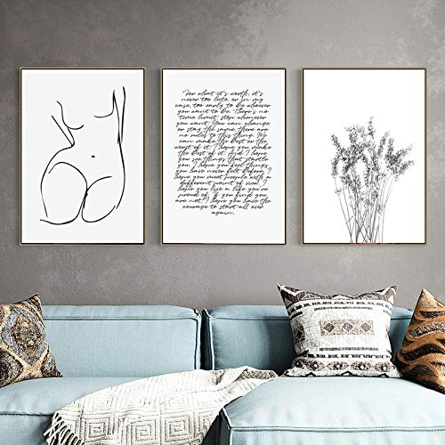Picasso Line Drawing Art Poster and Prints Sexy Girl Body Canvas Art Painting Black White Wall Art Picture Sala De Estar DecoracióN para El Hogar 50 × 70cm × 3 Sin Marco