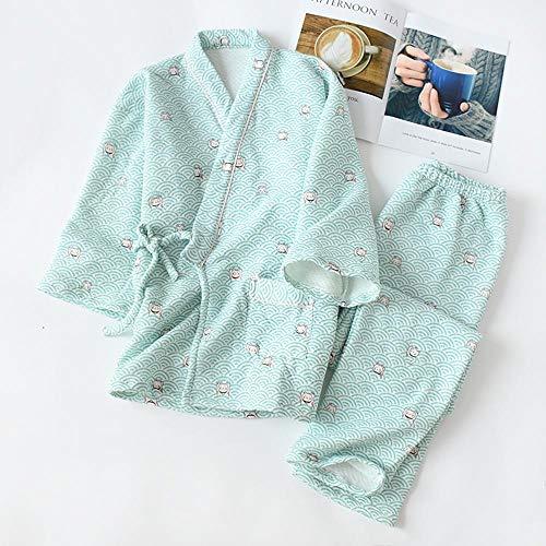 FZH Conjunto de Pijamas de Kimono japonés para Mujer, Ropa de Dormir de algodón para Mujer, Pijama de Ocio para Mujer, Pijama de Tela para el hogar-re_Metro