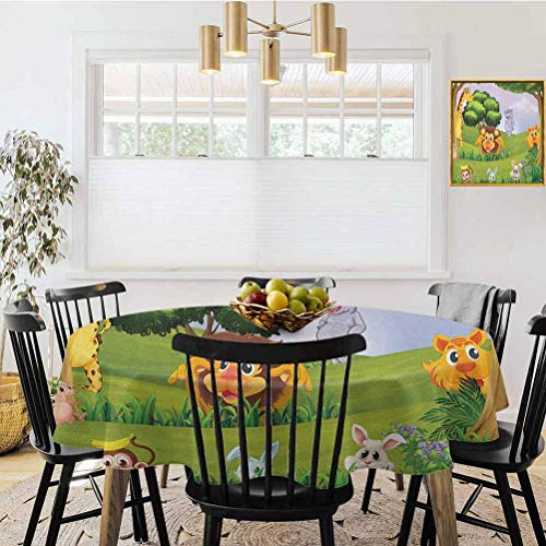 Mantel redondo de 39 pulgadas de diámetro, diseño de animales en el bosque, ilustración de dibujos animados safari jungla, ecosistema verde multicolor, para banquetes, bodas y uso diario.