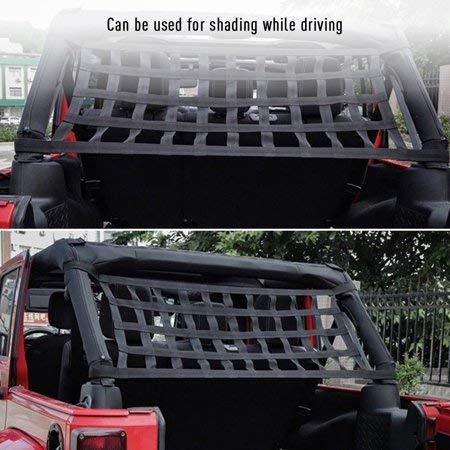 Bosmutus Achter Top Cargo Net voor Jeep Wrangler, Auto Dak Hangmat Auto Bed Rest Jeep Wrangler Accessoires YJ, TJ, JK,JL YJ 1996-2018 Dak Opslag Roll Kooi Bar Restraint