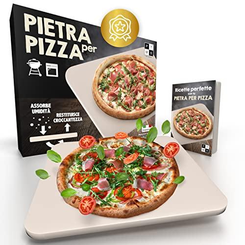 PTMS *Nuovo* - Pietra Refrattaria per Pizza da Forno e BBQ - Incluso RICETTARIO con Istruzioni per l uso - Pietra Refrattaria in Cordierite - Base Croccante e Condimento Succoso - per Amanti Pizza