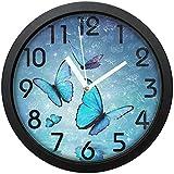 GeTJonesRiGhT Large Arabic Digital Quartz Movement Clock-Blue Butterfly Round Wall Clock, Battery Operated Quartz Analog Quiet Desk Clock for Home,Office,School-size10in