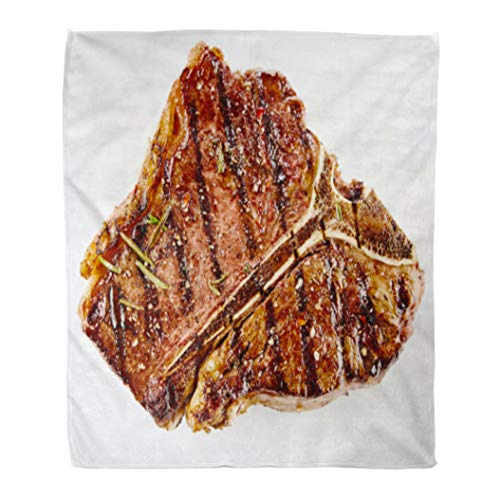 beef eye of round steaks Golee Throw Blanket Juicy Thick Grilled Bone Beef Steak Seasoned Rosemary Fresh 60x80 Inches Warm Fuzzy Soft Blanket for Bed Sofa
