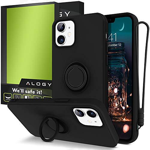 Alogy Funda para iPhone 12 Mini | Funda para teléfono móvil con banda, soporte de anillo de 360 grados y soporte magnético para teléfono móvil | Carcasa de silicona negra