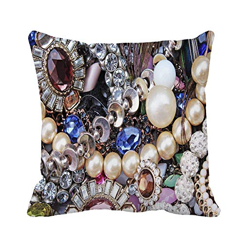 Throw Pillow Cover Silver Jewels As Jewelery Necklace Earrings Bracelet Pearls Gemstones Pillowcase Home Decorative Square Pillow Case Cushion Cover