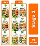 Sprout Organic Baby Food Stage 3 Protein Variety Sampler, 4 Oz Pouches, 12Count