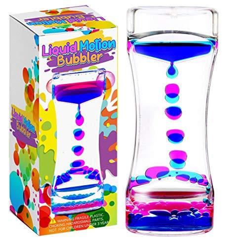 YUE MOTION Liquid Motion Bubbler Visual Sensory Timer, 2 Minute Liquid Timer– New Big Calming Sensory Bubbler Toy (Single Pack)