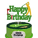 Golf Cake Topper Happy Birthday Sign Golf Ball Player Cake Decorations for Sport Theme Man Boy Girl Birthday Party Supplies Double Sided Green Sparkle Decor