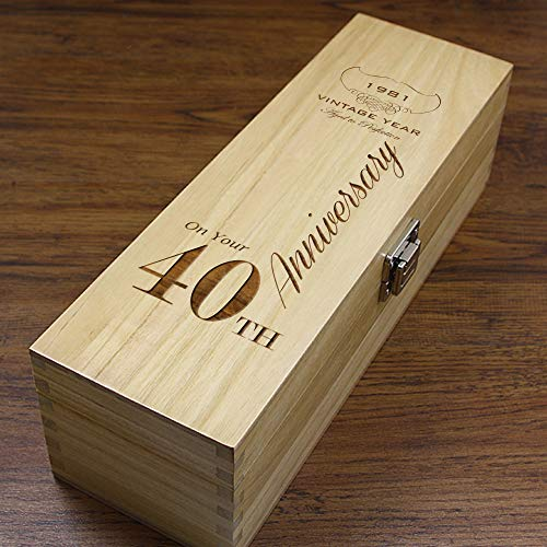 Unique Personalised 40th Anniversary Gift - Luxury Wooden Wine or Champagne...