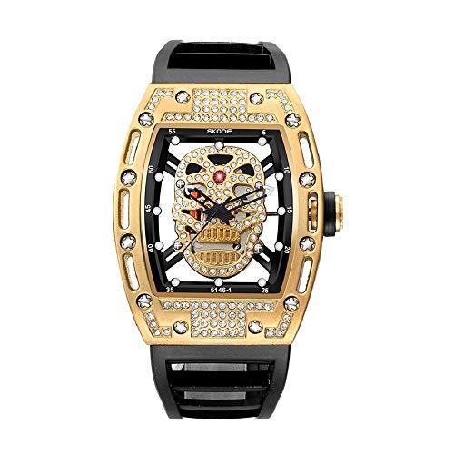 CXJC Personalidad Moda Hollow Hollow Reloj mecánico, reloj de deportes al aire libre, resistente a los arañazos y a prueba de golpes, reloj de oro, negro y mei. Tricolor de oro de la barbilla opcional