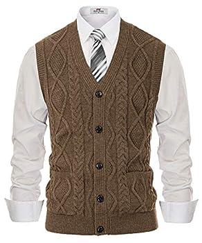Men s Cable Knit Sweater Vest Winter V-Neck Cardigan Vest with Pockets Coffee L