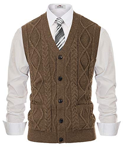PJ PAUL JONES Men's V-Neck Cable Knit Cardigan Sweater Vest with Front Button Coffee XL