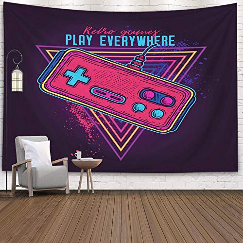 Crannel Gaming Wall Tapestry, Retro Neon Style 8bit Consoles Tapestry 80x60 Inches Wall Art Tapestries Hanging for Dorm Room Living Home Decorative,Black Red