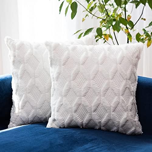 HUIXIZS Juego de 2 fundas de cojín , funda de cojín hecha de felpa suave y lana corta de color sólido, adecuada dormitorio, sofá, estudio, coche, funda de cojín para silla de oficina (blanco, 45x45cm)