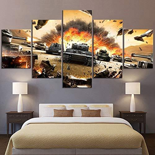 5 Stück Hd Bild World Of Tanks Videospiel Poster Wandmalerei für Schlafzimmer Dekoration(size 1)