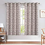 jinchan Damask Printed Curtains for Bedroom Drapes Vintage Linen Blend Medallion Curtain Panels Window Treatments for Living Room Patio Door 2 Panels 54 inches Long Purple