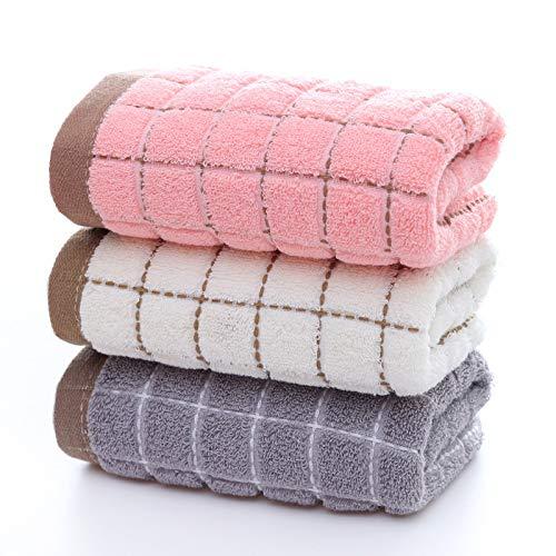 Dos paquetes, toalla de cara suave de algodón, simple para uso en el hogar, toalla de cara lisa, toalla absorbente de baño, 32 hilos especificaciones