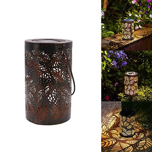 HaavPoois Solar Holle Lamp Draagbare Metalen Lantaarn Tuin Gazon Lamp Blad Holle Vorm Decoratieve Lamp Geschikt Voor Balkon Binnenplaats