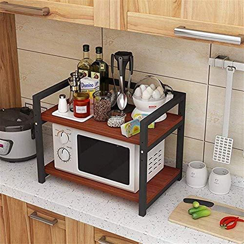 LYMUP Estante de la Cocina/Estante Ajustable/elevación de Almacenamiento de 2 Capas Horno de Carro/Doble Estante de Almacenamiento (Color : Red)