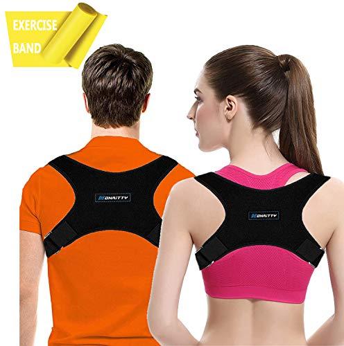 Posture Corrector for Women Men - Posture Brace - Adjustable Back Straightener Upper Back Brace for Posture Support Back Posture Effective for Neck Shoulder Pain Relief Posture Trainer Resistance Band
