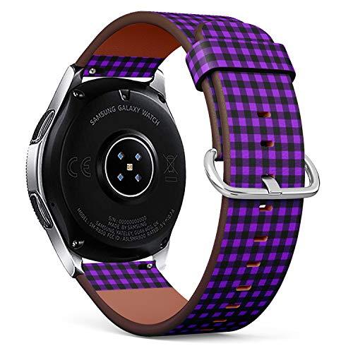 Compatible con Samsung Galaxy Watch (46 mm) – Correa de Reloj de Cuero con pasadores de liberación rápida (Buffalo Tartan Plaid Proton púrpura)