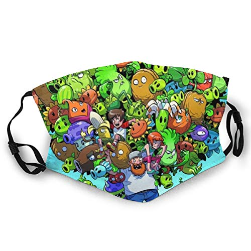 Plants Vs Zombies Peashooter Wall Nut Sunflower Adults Dust Face Cover Washable Mouth Guard Soft Guard Reusable Breathable Windproof Light Comfortable Outdoor Sports Running/Fishing/Cycling/Motor