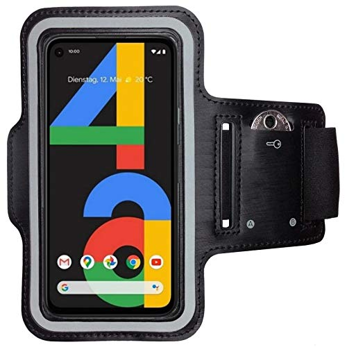 CoverKingz Sportarmband für Google Pixel 4a - Armtasche mit Schlüsselfach Pixel 4a - Sport Laufarmband Handy Armband Schwarz