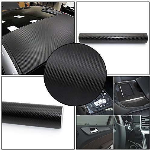 kefflum 4D Scheinwerfer Folie Carbon Rückleuchten Folie Aufkleber Autosticker Selbstklebend Flexibel 30 * 200cm Schwarz