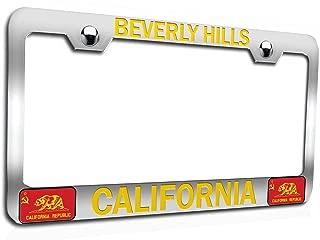 Makoroni - Beverly Hills California Californian California Chrome Auto SUV Steel Metal Heavy Duty Decorative License Plate Frame, License Tag Holder