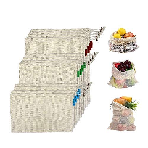 esafio Paquet de 12 sacs de fruits réutilisables en coton naturel avec étiquette de poids à vide, sac à provisions en tissu pour fruits, légumes, organisation du réfrigérateur (4S, 4M, 4L)