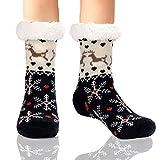Slipper Socks Fleece-Lined Cozy Thick Winter Knee Highs Stockings for Woman Men Christmas Socks