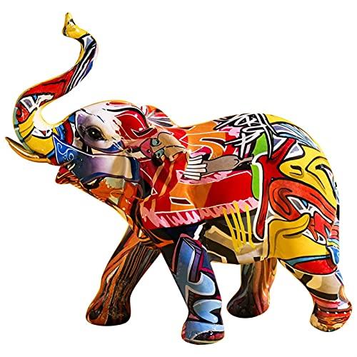 Creativo pintado colorido elefante resina artesanía ornamento casero sala de estar vino gabinete porche gabinete de vino decoraciones (Color : Elephant)
