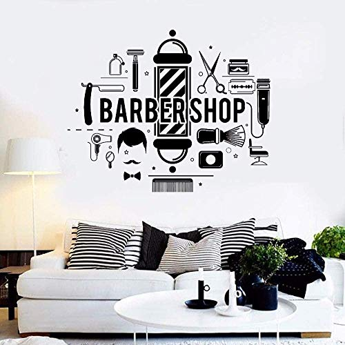 Stickers Muraux Autocollants Rasage Brosse Peigne Moustache Salon Barber Salon Barber Salon 42X62cm