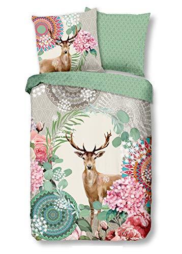 Traumschloss Vevila Feinbiber Bettwäsche Garnitur aus Baumwolle, Größe:155x220 / 80x80