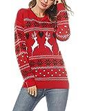 Doaraha Jersey Suéter de Navidad para Mujer Manga Larga Suéteres Invierno de Cuello Redondo Ugly Christmas Sweater Pullover de Punto Jerséis Blusa Navideños Regalo de Año (Rojo, XL)