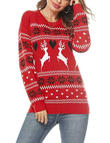 Doaraha Weihnachtspullover Damen Rentier Schneeflocken-Muster Rundhals,Weihnachtspulli Gestrickt Weihnachten Pullover Christmas Sweater Winter Strickpullover Frauen Xmax Pulli