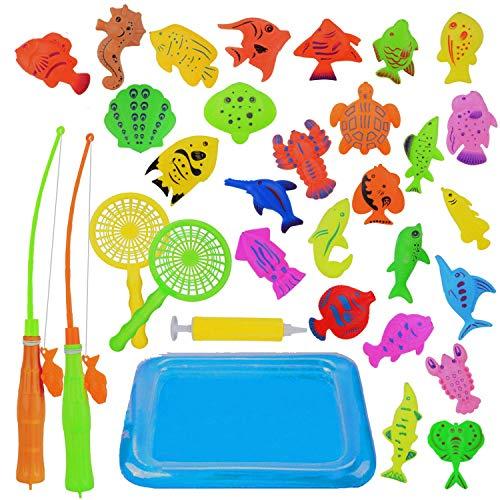 KidsHobby Juego de Pesca Magnética(26 Peces+2 Cañas) - Juguete Educativa&Interactivo de Pesca...