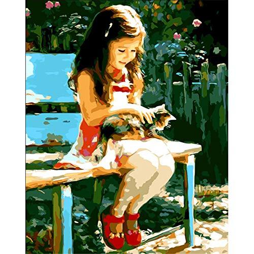 JHDGL Verf door cijfers Kleine Meisje Op Een Bank voor Volwassenen Kinderen Beginner DIY Digitale Olie Schilderen 16 * 20 inch met Borstels en Acryl Pigment(Frameless)