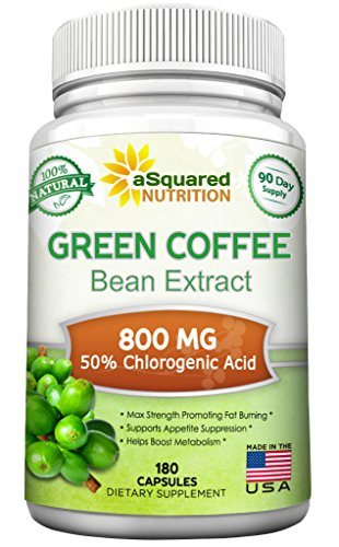 Natural Green Coffee Bean Extract - 180 Capsules - Max Strength GCA Antioxidant Cleanse for Pure Weight Loss, 800mg w/ 50% Chlorogenic Acid per Pill, 1600mg Daily Supplement, Healthy Fat Burner